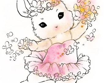 Digital Stamp - Instant Download - Little Tutu Bunny - Bunnirina - Fantasy Animal Line Art for Cards & Crafts by Mitzi Sato-Wiuff