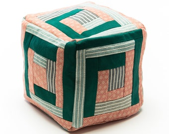 Cubic Log Cabin Patchwork pillow in Pink and Green