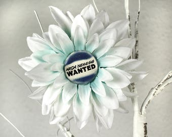 Arch Nemesis Wanted Flower Hair Clip in White and Blue
