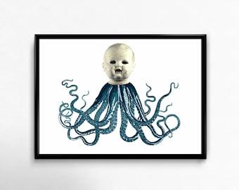 Creepy Dolloctopus Art Print Dolls Head Gothic Macabre Display
