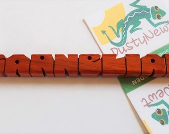Name Refrigerator Magnet in Paduak Wood, Custom Carved to Order