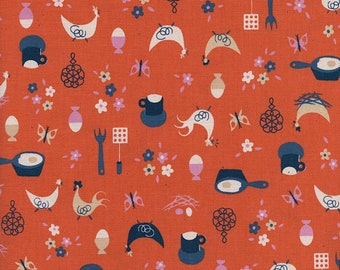 Welsummer by Kimberly Kight for Cotton and Steel -- Fat Quarter of Kitchen Kitsch in Sweet Orange