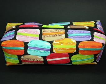 Boxy Makeup Bag - Rainbow French Macaron Zipper - Pencil Pouch