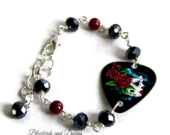 Day of the Dead Bracelet -  Plectrum Bracelet - Guitar Pick Bracelet - Goth Jewellery - Dia de los Muertos - Alternative Jewellery