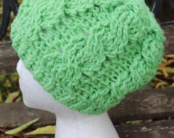 Lime green cable stitch beanie for children