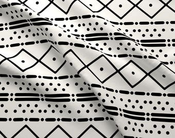 Mudcloth Fabric - Mudcloth Black on Ivory By Kelly Korver- Mudcloth African Tribal Geometric Boho Cotton Fabric By The Yard With Spoonflower