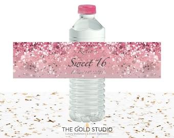 Pink Water bottle labels Sweet 16 Water bottle covers Sweet sixteen water bottle stickers 16th Birthday Drink Label Drink sticker