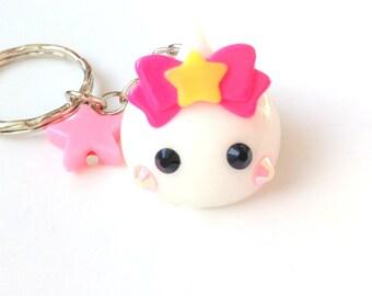 Fairy Kei, Star Ribbon White Hoppe Chan, Kawaii Charms, Kawaii Keychain, Cute Phone Charm, Tamagotchi, Harajuku, Anime Lover, Squishy Charm