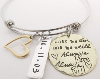 Hand Stamped Jewelry - Loved You Then -  Charm Bracelet - Personalized Anniversary Gift -