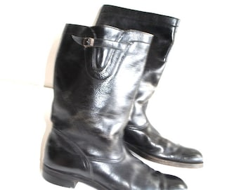 Authentic Biltrite  Vintage 70s black distressed genuine leather,motorcycle riding boots. Size 11 1/2