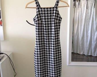 Black&White Dress/ Jersey Dress/Wool Dress/ Tight-fit Medium Length Dress/ Middle Dress