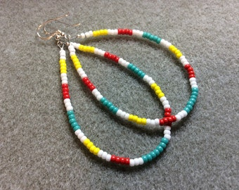 Sterling Silver Earwires Southwest, Boho look turquoise yellow red white loop seed beads  CL1618H