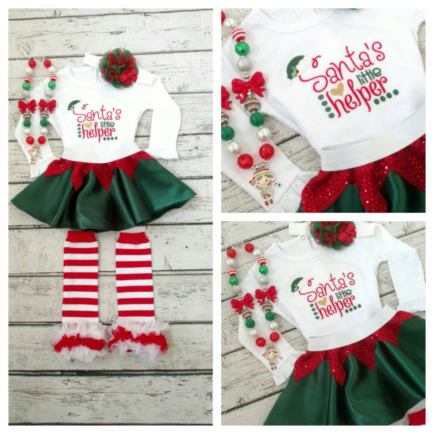 Girls Christmas outfit elf outfit Santa\'s helper