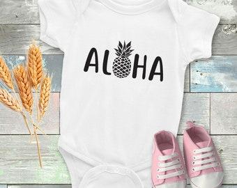 Aloha pineapple baby onesie - Funny baby onesie - Cool onesie - Baby bodysuit