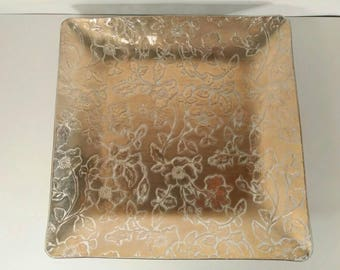 Large Vintage Gold Rose Glass Serving Platter