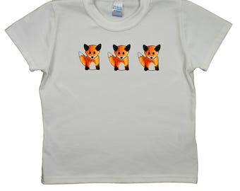 Three foxes print on Child's White T-Shirt - Individually made in England - W9