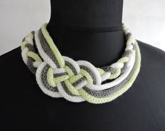 Necklace knitting lime green white gray sailor knot