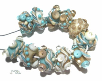 DESERT NIGHT Lampwork Beads Handmade Mocha Tan Ivory Turquoise - Bold Textured Set of 11