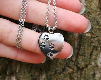 4 Paws on My Heart Pet Cremation Jewelry for Ashes Urn Necklace Ash Pendant Dog Cat Paw Print Memorial Gift Stainless Steel Chain Loss Loved