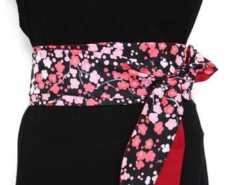 b7cc4b2cffe Ceinture obi tissu fleurs cerisier ceinture japonaise Obi belt fabric  cherry flowers japanese belt