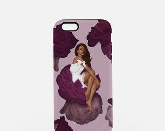 Fashion iPhone Case-lady in flower-Fashion Illustration-iPhone 8 Case-iPhone 7 Case-iPhone 8 Plus Case-iPhone 7 Plus Case-iPhone X Case