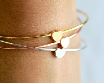 Heart Bangle Bracelet - Stacking Heart Bracelet, Valentine's Gift, Valentine's Bracelet, Heart Charm Love Bracelet Wedding, Gift for Her