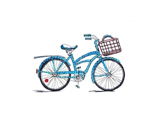 Beach Cruiser Bicycle Watercolor - JPEG - PNG - Digital Stamp - Digital Clipart - Hand drawn - Limited Commercial Use