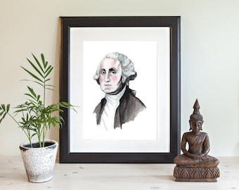 George Washington Illustration Print, Giclee print, , Watercolor Print. George Washington