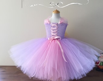 Rapunzel Tangled Inspired Tutu dress, Princess Tutu Dress, Lavender Tutu Dress, Full Length Tutu Dress