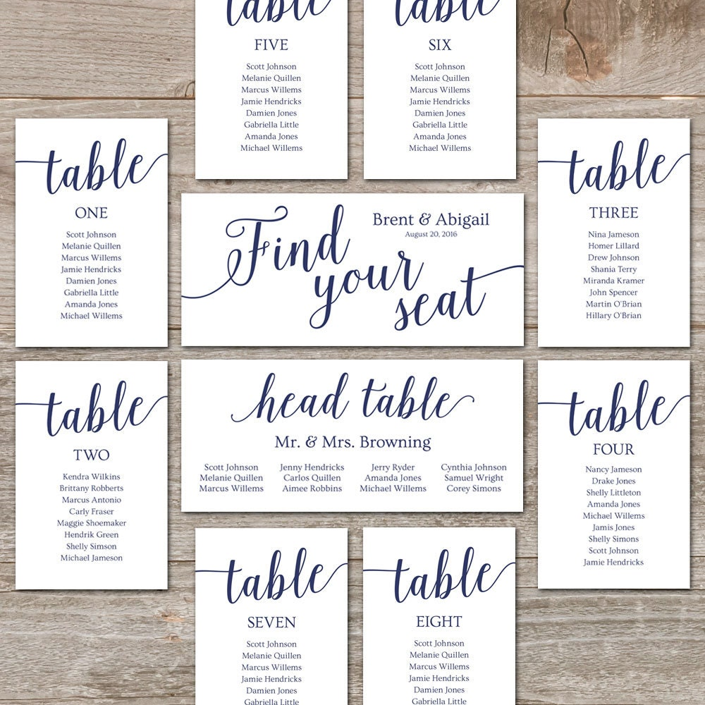 navy seating chart template      wedding seating chart cards