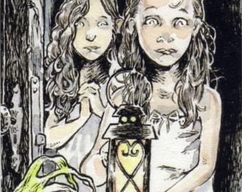 The Thing in the Hallway ACEO ATC Girls Ghosts Spooky Illustration Drawing Print in Canvas Cloth