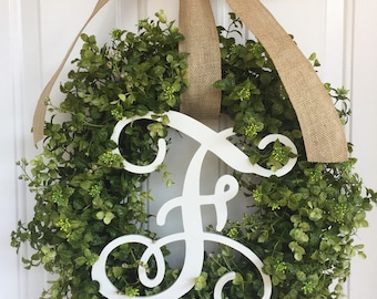 Boxwood wreath Everyday wreath monogram wreath