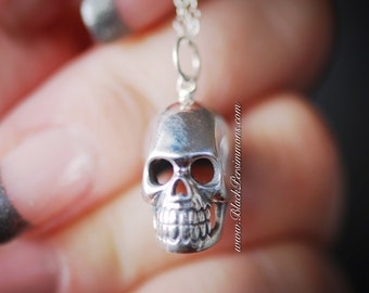 Skull Necklace - Solid 925 Sterling Silver Pendant - Insurance Included