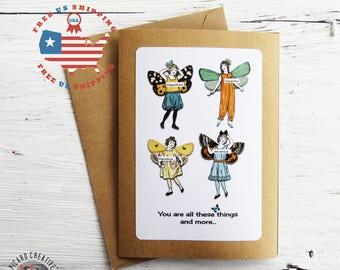 Inspirational Fairy Friendship Greeting Card-  Kraft Card Stock - Blank Inside- FREE US SHIPPING