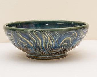 """9"""" Wide Floating Blue Carved Bowl"""