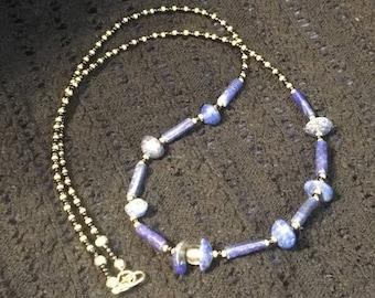 Pretty Primitive Denim Lapis Black and Gold Necklace--Lapis Necklace--Denim Lapis--Primitive Necklace