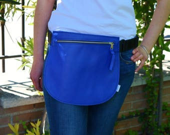Leather waist bag,Belt bag,hip leather bag,fanny pack leather,cobalt blue bag,hip belt bag,rider bag,leather fanny,zipper waist,blue purse