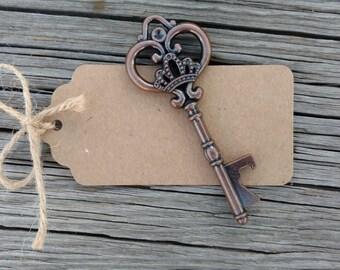 Heart Key Bottle Openers, Love Is The Key, Skeleton Key Wedding Favors, FREE Tags & Twine!