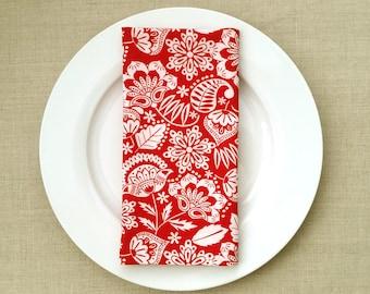 Flower Motif Fabric Napkins - Fabric Dinner Napkins - Red and White Dinner Napkins - Set of 2