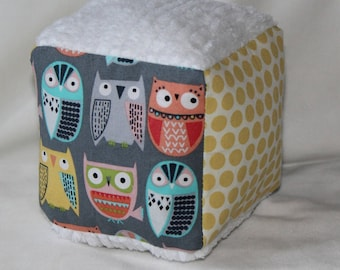 Gray Owls Chenille Block Rattle Toy