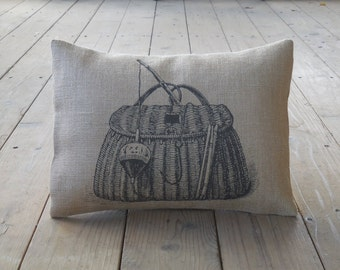 Fishing Creel Burlap Pillow, Shabby Chic, Cabin Decor, Man Cave,Farmhouse Pillows, US17,  INSERT INCLUDED
