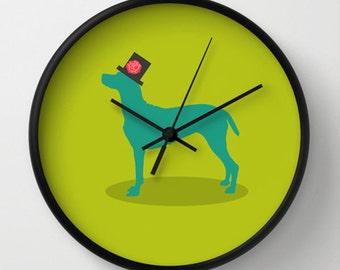 Dog Wall Clock   Green Clock   Modern Wall Clock  Nursery Decor    Decorative Clock
