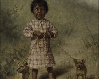 Poster, Many Sizes Available; Grace Carpenter Hudson Greenie With Two Yellow Puppies, 1896