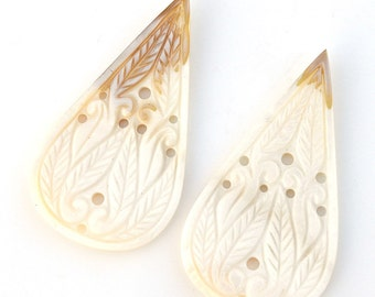 39.30ct 100% Natural White Mother Of Pearl Gemstone Pear Hand Carved Slice 28*52mm