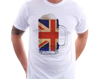 Great Britain Country Flag Beer Mug Tee, Home Tee, Country Pride, Country Tee, Beer Tee, Beer T-Shirt, Beer Thinkers, Beer Lovers Tee, Fun