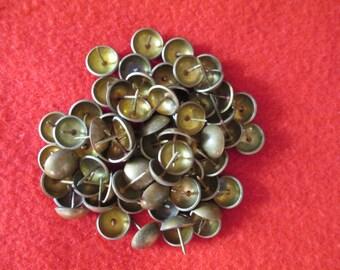 vtg Brass Furniture Tacks - lot of 67