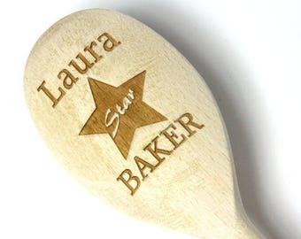 Personalised Wooden Spoon - Star Baker - Baking Gift, Anniversary, Wedding