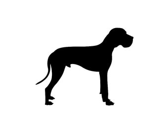 Great Dane v5 Dog Breed Silhouette Custom Die Cut Vinyl Decal Sticker - Choose your Color and Size