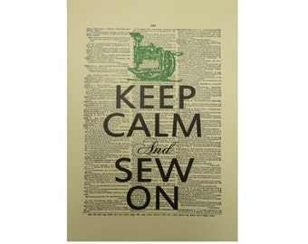 Vintage Inspired ' Keep Calm And Sew On ' Dictionary Page Art Print P023