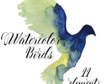 Birds Clip Art, Watercolor Hand painted birds, Painted Birds, digital scrapbooking, bird clipart, birds illustration, instant download